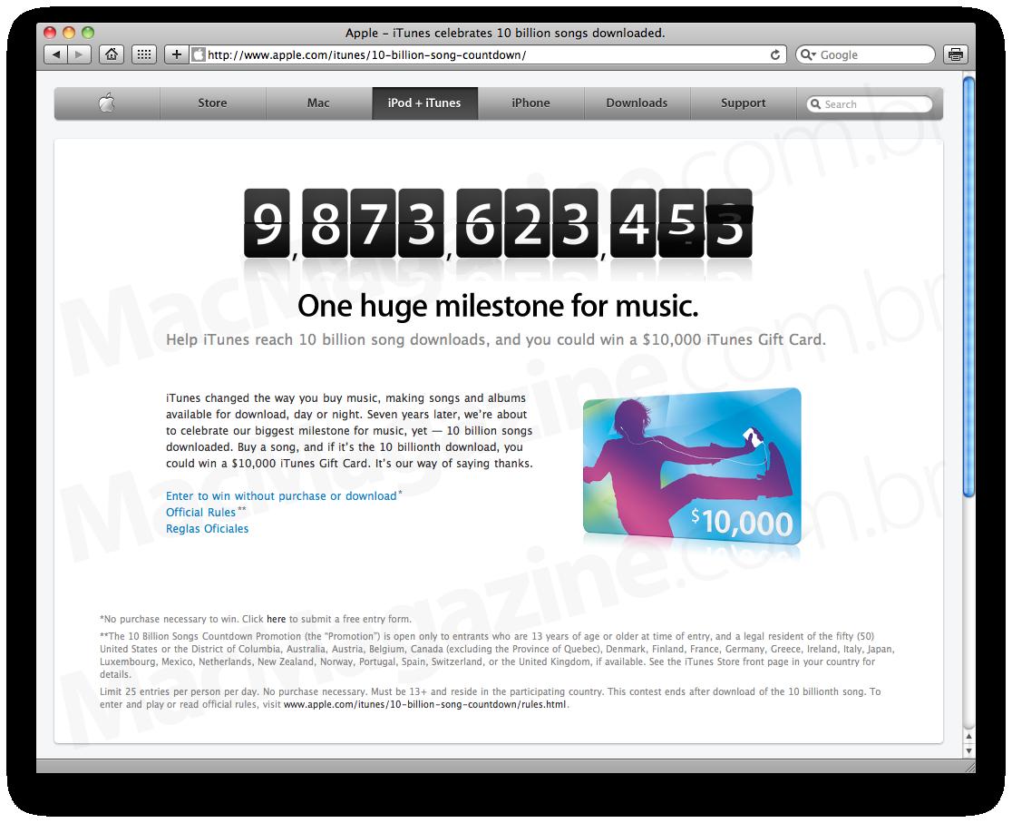 10 bilhões de músicas na iTunes Store