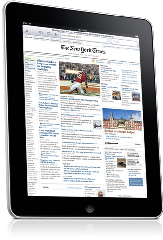 iPad com NYTimes.com rodando no Safari