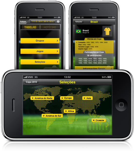 Atualização do app Copa do Mundo para iPhone