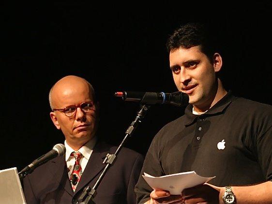 Marcelo Tas e Dinho Martinelli em evento da Apple Brasil
