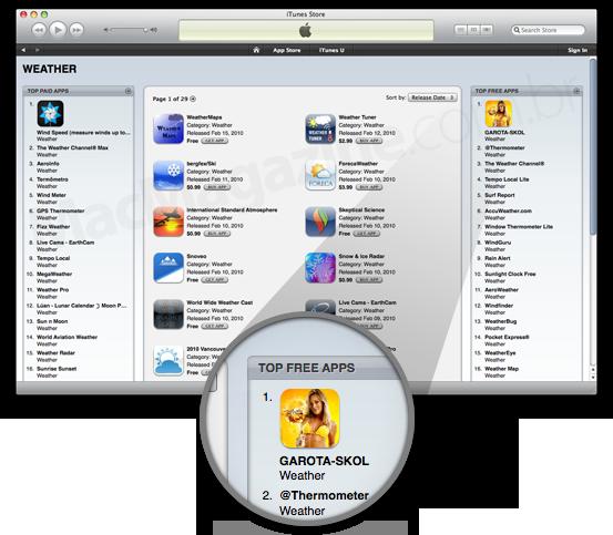 Garota Skol em primeiro lugar na App Store
