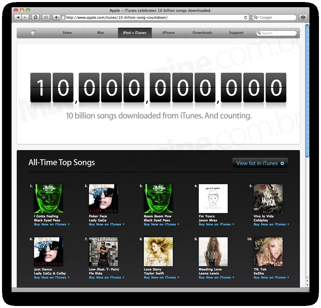 iTunes Store: 10 bilhões de músicas baixadas