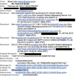 Cabeçalho de email de Steve Jobs