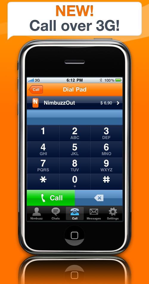 Nimbuzz suporta ligações via 3G no iPhone