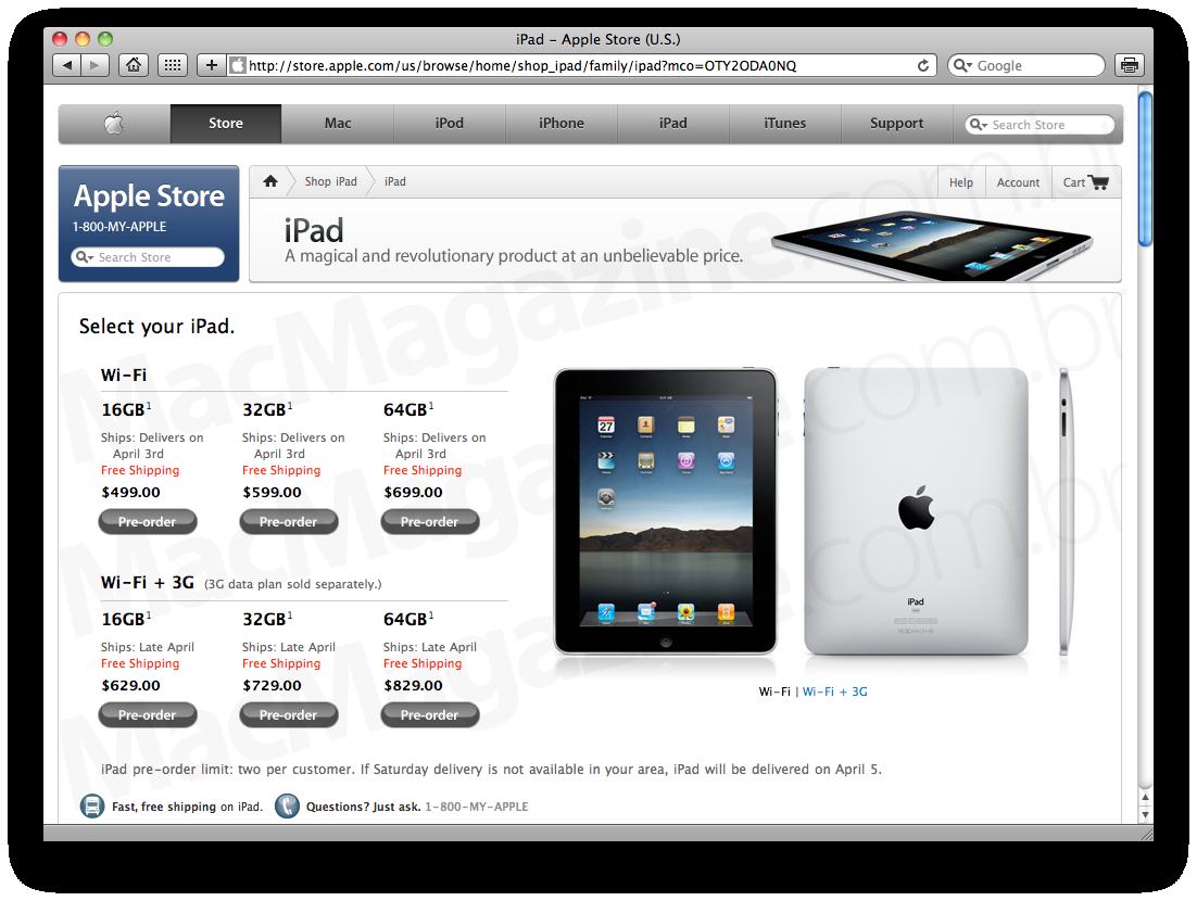 iPad à venda na Apple Online Store