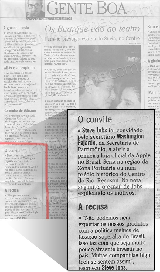 Steve Jobs sobre Apple Store Brasil