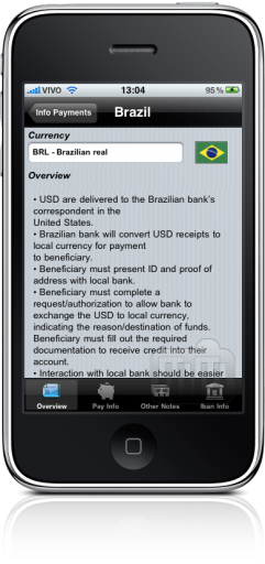 Info Payments no iPhone
