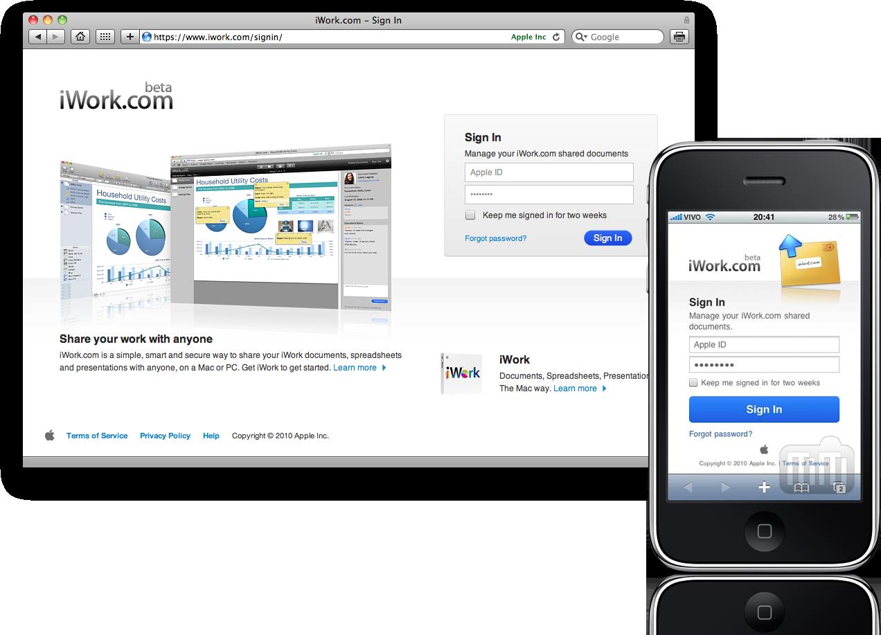 Página de login do iWork.com