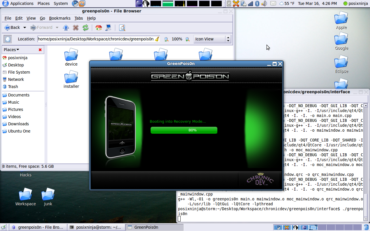 GreenPois0n rodando no Linux