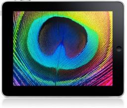 iPad com imagem colorida em seu display de LCD iluminado por LED