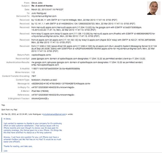 Steve Jobs sobre caixa de entrada universal no Mail