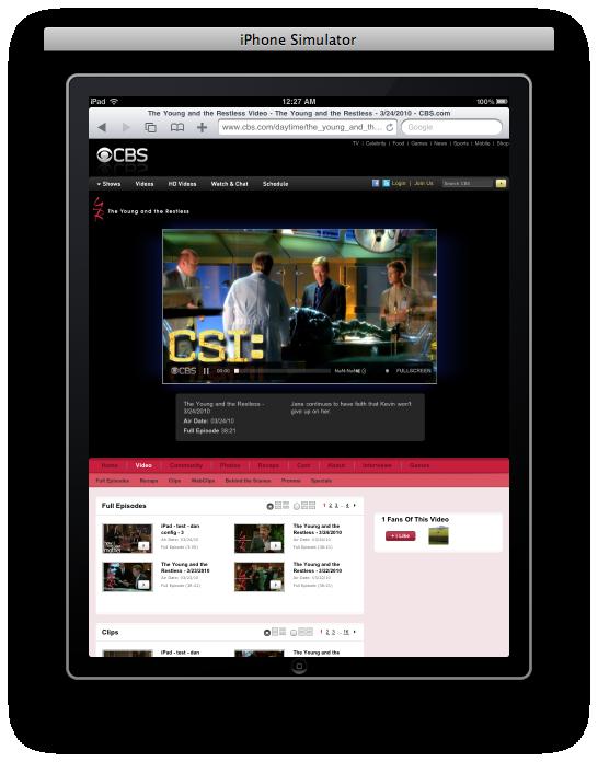 CBS rodando no iPad Simulator