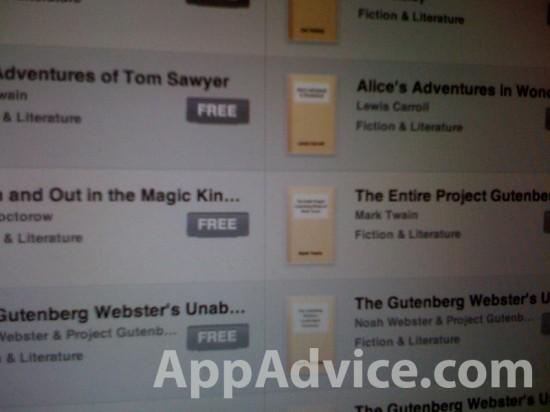 Projeto Gutenberg na iBookstore do iPad