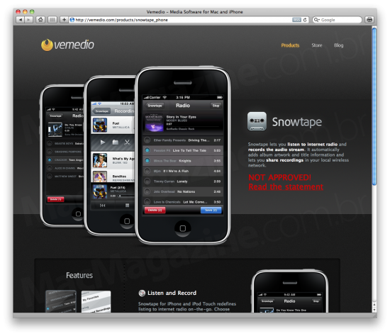 Snowtape para iPhone rejeitado pela Apple