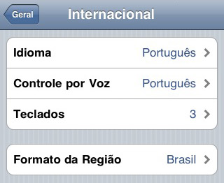 Configurações internacionais do iPhone