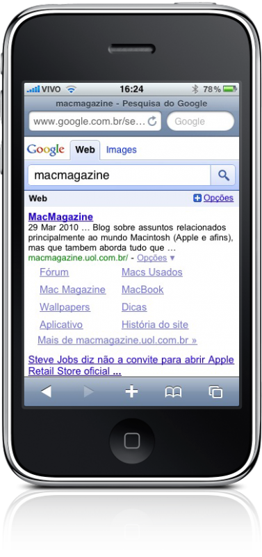 Google Mobile Search em português no iPhone