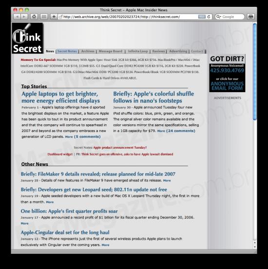 Think Secret na Wayback Machine