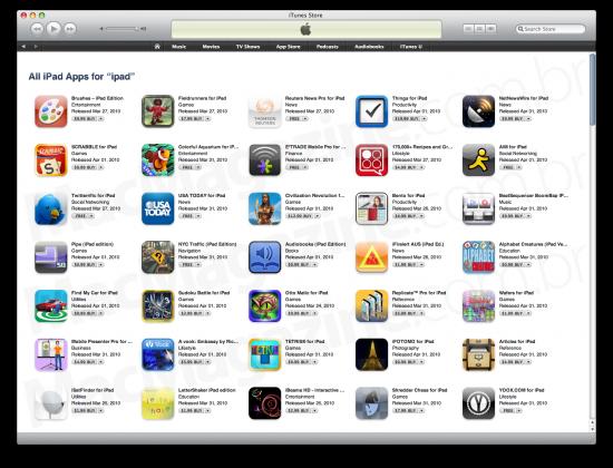 iPad App Store no iTunes