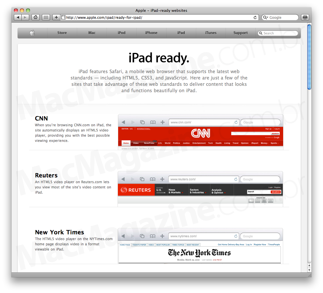 Sites iPad-ready, by Apple