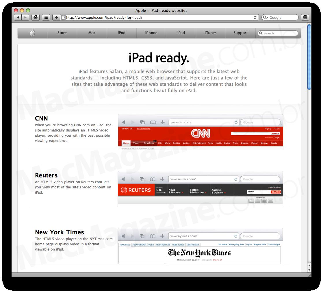 Sites iPad-ready, by Apple