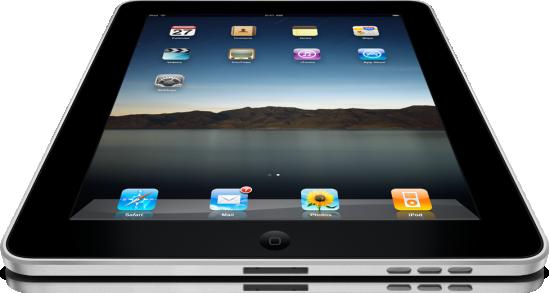 iPad visto de baixo, deitado e grande