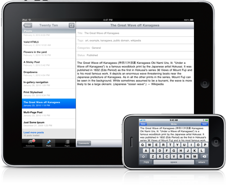 WordPress 2.4 para iPad e iPhone