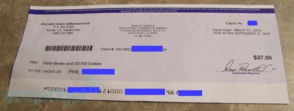 Cheque de US$37,50 referente a iPods nano