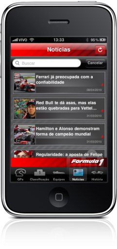 Fórmula 1 Mobile 2010 no iPhone