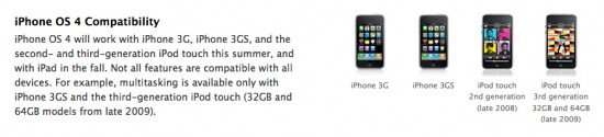 Compatibilidade do iPhone OS 4.0