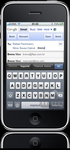 Compondo mensagem no Gmail for mobile