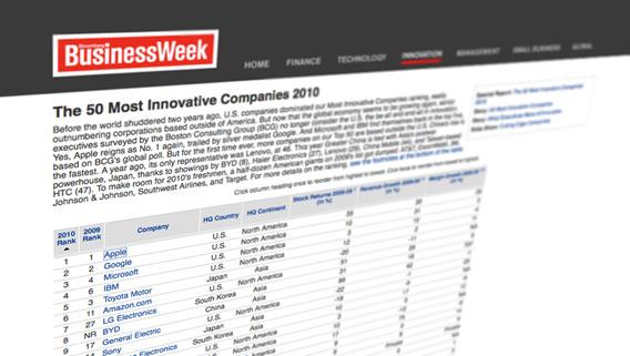 Apple no ranking de inovadoras da BusinessWeek