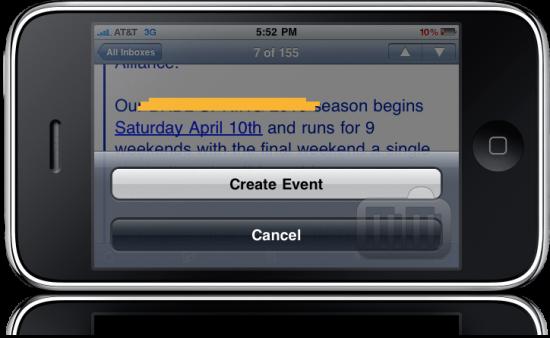Calendar no iPhone OS 4.0