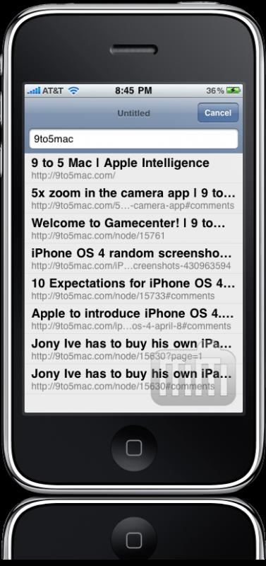 Sugestões de busca no iPhone OS 4.0