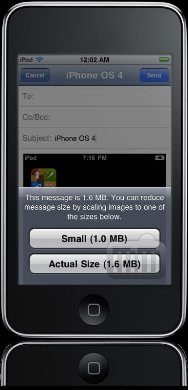 Redimensionamento de imagens no Mail do iPhone OS 4.0