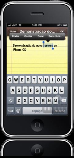 Substituindo palavras no iPhone OS 4.0