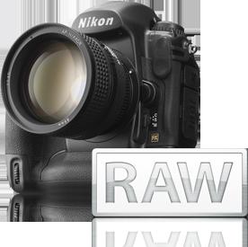 Câmera da Nikon e ícone RAW