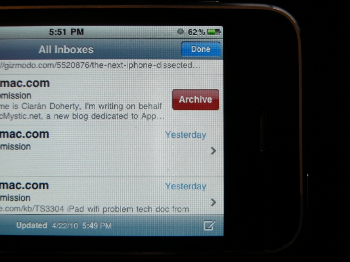 Archive de emails no Gmail do iPhone OS 4.0