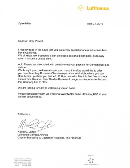 Carta da Lufthansa a Gray Powell
