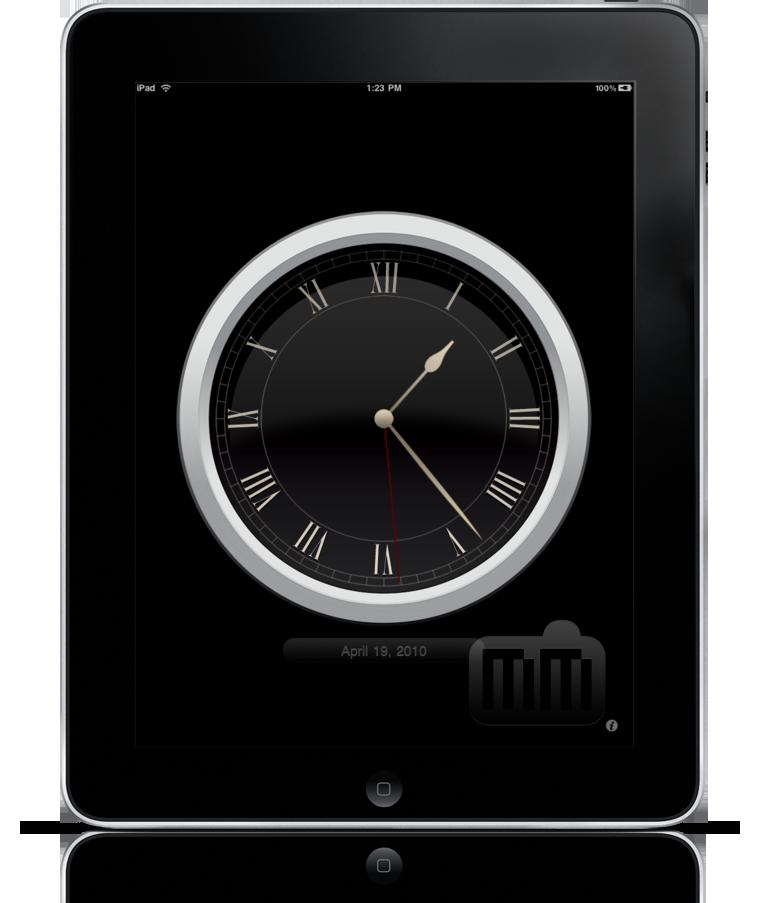 Relógio analógico no iPad