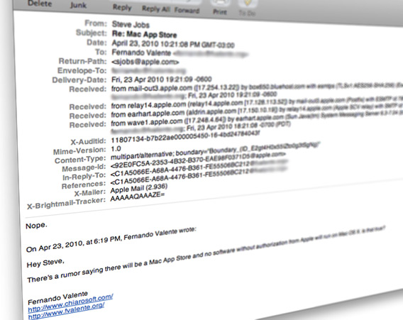 Email de Steve Jobs sobre uma Mac App Store