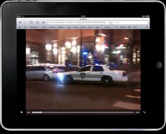 Vídeo do Facebook tocando no iPad