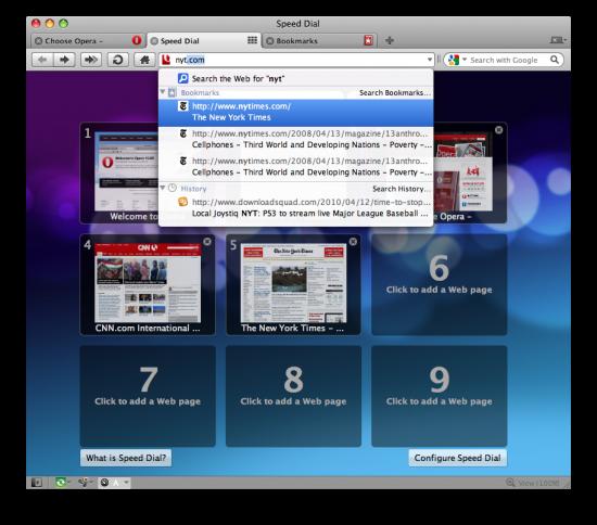 Opera 10.52 no Mac OS X
