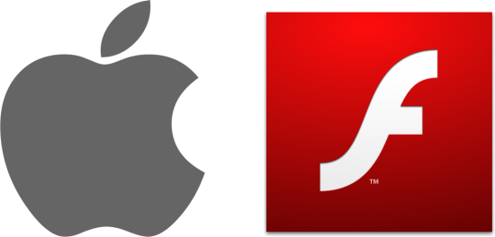 Logo da Apple e ícone do Adobe Flash Player