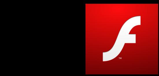Logo da Apple e ícone do Adobe Flash Player