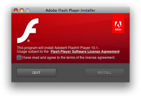 Instalador do Flash Player 10.1 Beta para Mac OS X