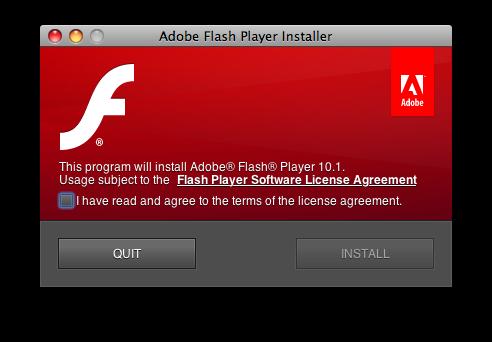Instalador do Flash Player 10.1 Beta para Mac OS X