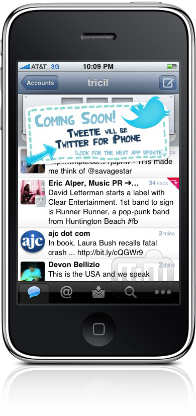 Easter egg do Tweetie 2.1.2 para iPhone
