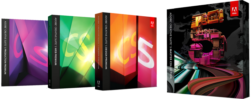 Caixas da Adobe Creative Suite 5