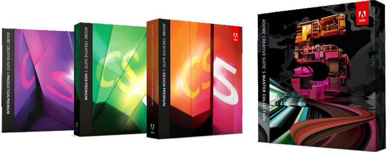 Caixas da Adobe Creative Suite 5