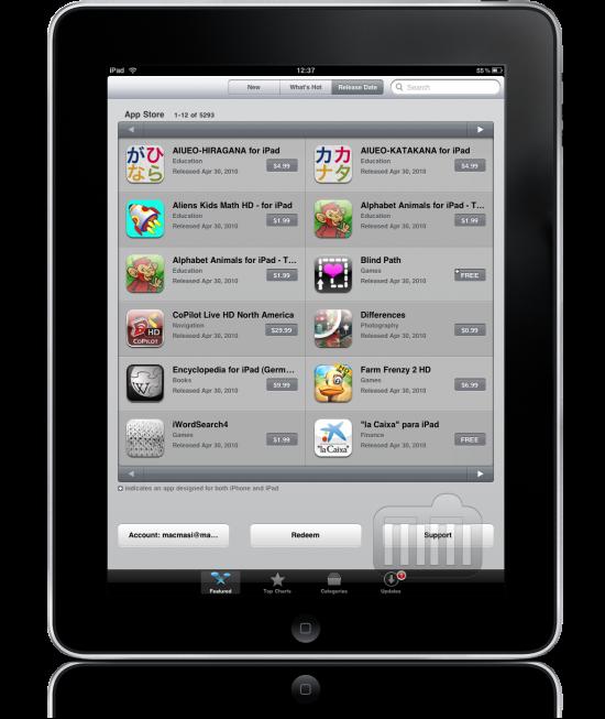 iPad App Store agora classifica itens por data de lançamento